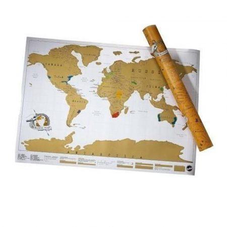 Kaparós világtérkép, utazós prémium -Ajándékozz ilyen kaparós térképet és inspiráld szeretted a világ felfedezésére!