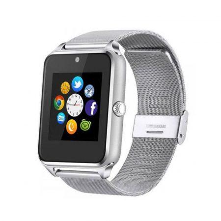 AlphaOne fémszíjas ezüst okos óra, SIM kártya, magyar, beépített kamera