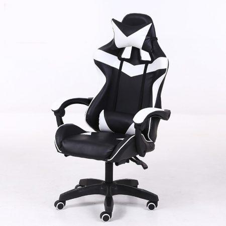RACING PRO X Gamer szék , fehér-fekete-Sokat vagy fent a neten? Vége az elgémberedett ízületeknek.