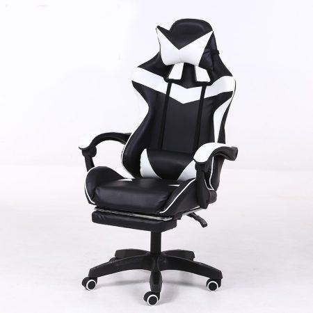 RACING PRO X Gamer szék lábtartóval, fehér-fekete Ingyenes szállítással-Sokat vagy fent a neten? Vége az elgémberedett ízületeknek.