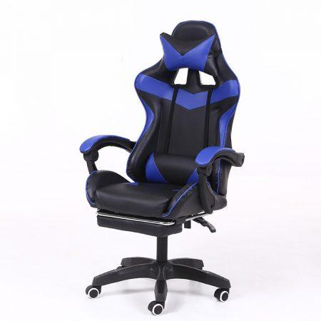 RACING PRO X Gamer szék lábtartóval, kék-fekete -Sokat vagy fent a neten? Vége az elgémberedett ízületeknek.