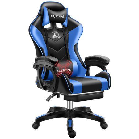 Likeregal 920 masszázs gamer szék lábtartóval kék