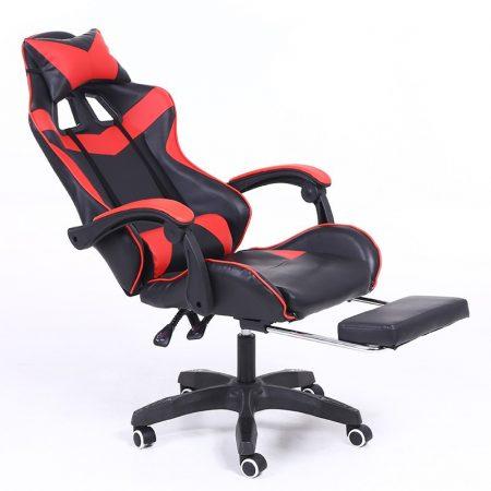 RACING PRO X Gamer szék lábtartóval, piros-fekete Sokat vagy fent a neten? Vége az elgémberedett ízületeknek.
