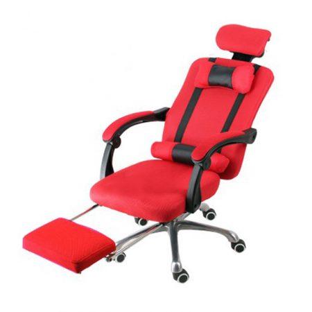 Elnöki forgószék lábtartóval , Piros -Kényelem és komfort,ergonomikus kialakítás!