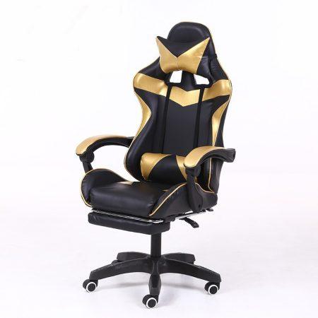 RACING PRO X Gamer szék lábtartóval, arany-fekete -ásaSokat vagy fent a neten? Vége az elgémberedett ízületeknek.