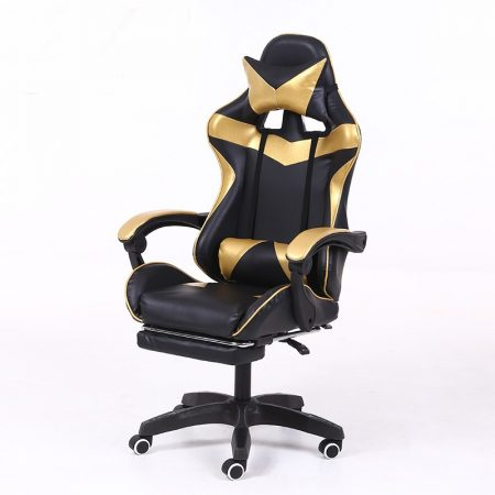 RACING PRO X Gamer szék lábtartóval, arany-fekete -Sokat vagy fent a neten? Vége az elgémberedett ízületeknek.