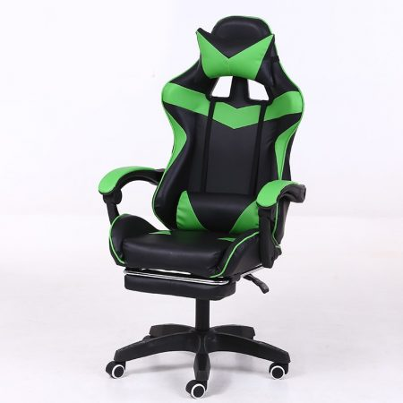 RACING PRO X Gamer szék lábtartóval, Zöld-feketeSokat vagy fent a neten? Vége az elgémberedett ízületeknek.