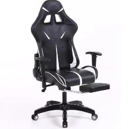 Sintact Gamer szék Fehér-Fekete lábtartóval