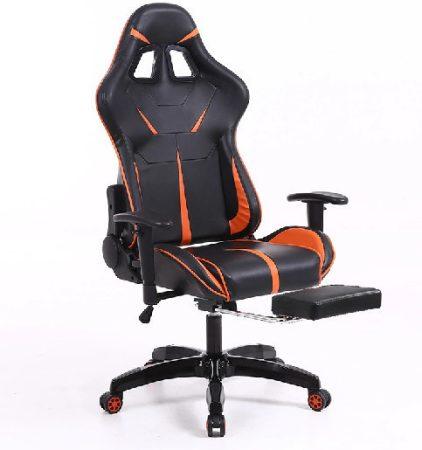 Sintact Gamer szék Narancs-Fekete lábtartóval