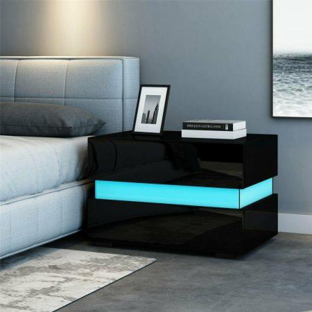Homeland éjszakai asztal fekete beépített LED világítással