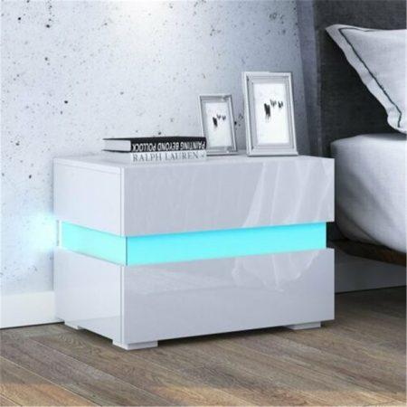 Homeland éjszakai asztal fehér beépített LED világítással