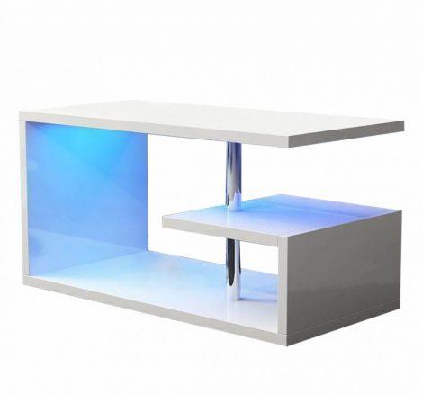 Homeland 100 cm-es fehér dohányzóasztal beépített RGB led világítással