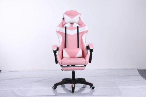RACING PRO X Gamer szék  lábtartóval, Fehér-Pink -Sokat vagy fent a neten? Vége az elgémberedett ízületeknek.