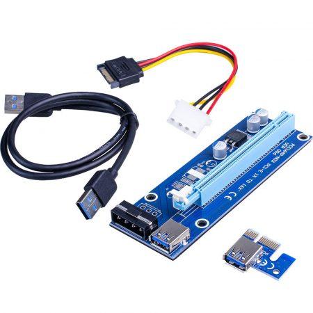 PCI-express x1 - x16 riser kártya mining/rendering kit