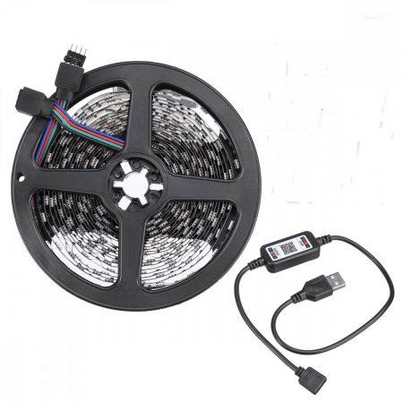 Lebit színváltós USB LED szalag mobiltelefonos távirányítással 1 méter-es