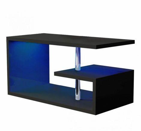 Homeland 100 cm-es fekete dohányzóasztal beépített RGB led világítással